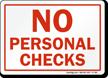 No Personal Checks Sign
