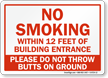 No Smoking Within 12 Feet Of Entrance Sign