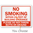 No Smoking Within 25 Feet Of Entrance Sign
