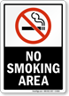 No Smoking Area (symbol) - black Sign