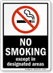 No Smoking Except Designated Areas (symbol) Sign