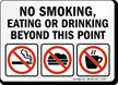 No Smoking, Eating or Drinking Beyond Sign