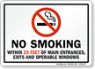 No Smoking Within 25 Feet Of Main Entrances Sign
