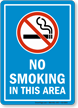 No Smoking In Area Sign With Blue Background