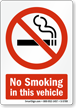 No Smoking in Vehicle Sign