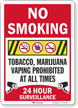 No Smoking Marijuana Prohibited Surveillance Sign