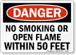 No Smoking within 50 Feet Danger Sign