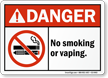 No Smoking Vaping Sign With E-Cigarette Graphic