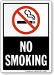 No Smoking  - black vertical Sign