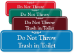 Do Not Throw Trash In Toilet Wall Sign