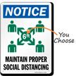 Notice Maintain Proper Social Distancing Sign