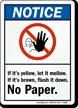 Notice No Paper Sign