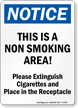 Notice Non Smoking Area Sign