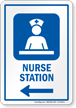Nurse Station Area Left Arrow Sign