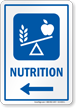 Nutrition Hospital Sign With Left Arrow