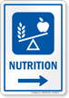 Nutrition Hospital Sign With Right Arrow