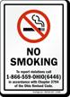 NO SMOKING To report violations call Sign