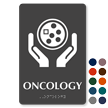 Oncology Braille Hospital Sign with Cancer Cell Symbol