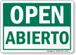 Open, Abierto Bilingual Sign