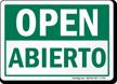 Open, Abierto Bilingual Sign