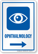 Ophthalmology Right Arrow Hospital Sign