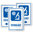 Pathology Sign with Diagnostic Center Microscope Symbol