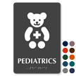 Pediatrics Braille Hospital Sign with Teddy Cross Symbol