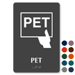 PET Braille Sign with Positron Emission Tomography Symbol