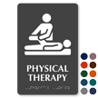 Physical Therapy Braille Sign with Physiotherapist Symbol