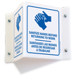 Projecting Bilingual Wash Hands Sign