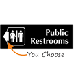 Public Restrooms Engraved Arrow Sign
