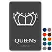 Queens Crown Braille Restroom Sign