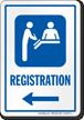 Registration Left Arrow Hospital Sign