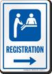 Registration Right Arrow Hospital Sign