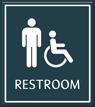 Male Restroom Door Sign with Handicap Symbol