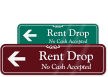 Rent Drop Sign With Left Arrow