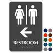 Restroom with Left Arrow Braille Door Sign