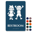 Restroom Braille Sign With Boy Girl Symbols