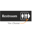Restroom Engraved Arrow Sign