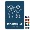 Restroom Braille Sign with Stick Figures Boy Girl