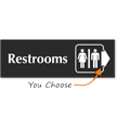 Restrooms Engraved Arrow Sign