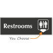 Unisex Engraved Restrooms Arrow Sign