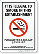 It Is Illegal To Smoke Sign