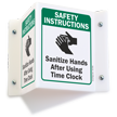 Sanitize Hands After Using Time Clock Projecting Sign