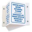 Sanitize Hands Projecting 2-Sided Bilingual Sign
