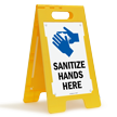 Sanitize Hands Here Floor Standing Sign