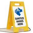 Sanitize Hands Here Floor Standing Sign