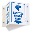Sanitize Hands Here Projecting Sign