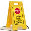 Sanitize Hands Sanitaiser Las Manos Floor Standing Sign