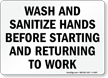 Wash and Sanitize Hands Before Starting Sign